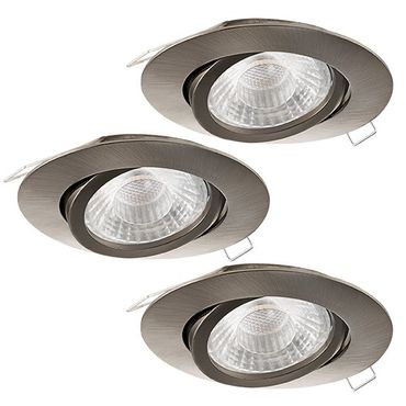 GU10 LED 3er Set Einbauleuchte TEDO 1 Ø 8cm in nickel-matt inkl. GU10 LED schwenkbar und STEP Dimming