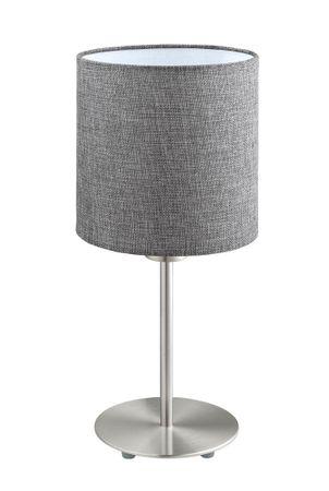 Tischleuchte Stofflampe PASTERI Ø 18cm in grau mit Kabelschalter