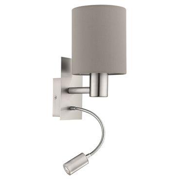 Wandleuchte Stofflampe PASTERI 38 x 15cm in taupe (graubraun) mit Wippschalter
