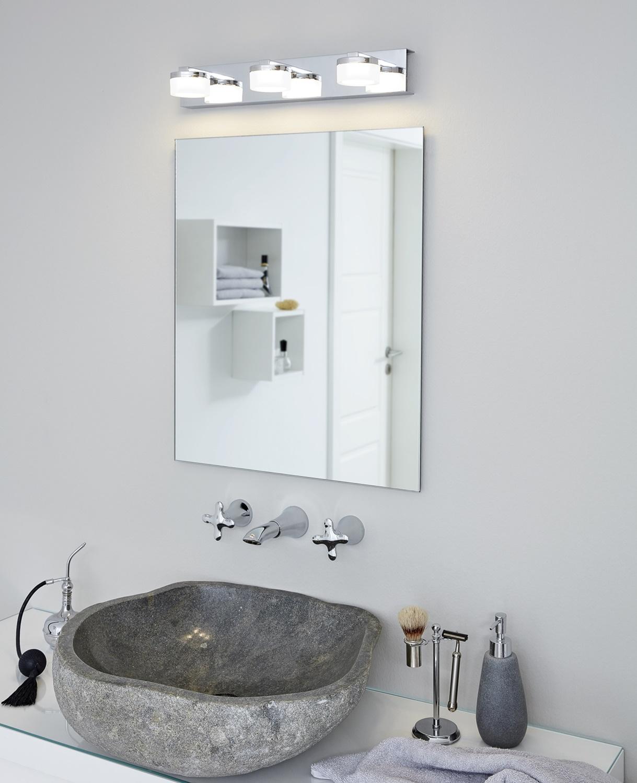 Wandleuchte Badezimmerlampe ROMENDO 1 L: 45cm dimmbar in klar, satiniert