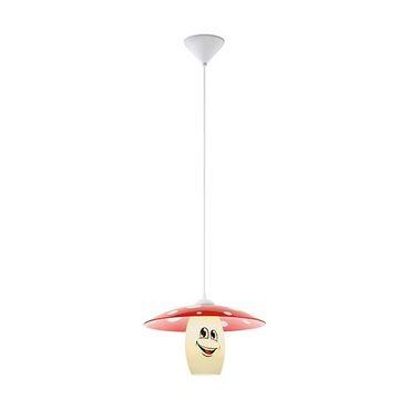 Hängeleuchte Kinderzimmerlampe FUNJI Ø 36cm dimmbar in rot, weiss