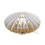 Tischleuchte Lamellenlampe SOTOS Ø 35cm dimmbar in natur, weiss mit Kabelschalter  001