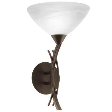 Wandleuchte VINOVO dunkelbraun weiß Alabasterglas E27 max. 1X60W H42,5cm L25cm