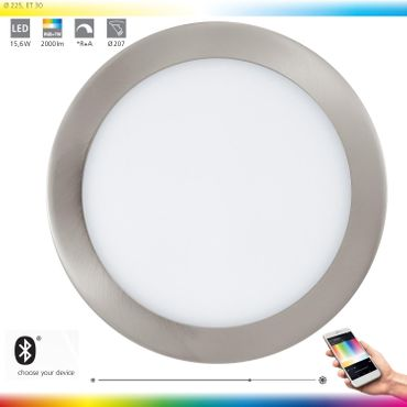 Smart Light Einbauleuchte FUEVA-C Ø 22,5cm dimmbar nickel matt Connect 96676