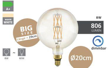 Big Size Leuchtmittel E27 LED 8W AMBER 2100K Länge: 29cm Ø 20cm