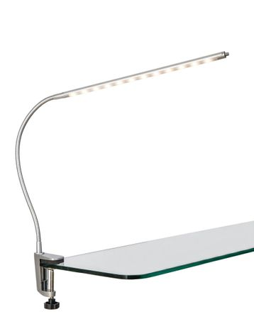 LED-Klemmleuchte incl. 12LED´s 3W Nickel matt H:max.38cm,Ausl.60cm,mit Flexarm