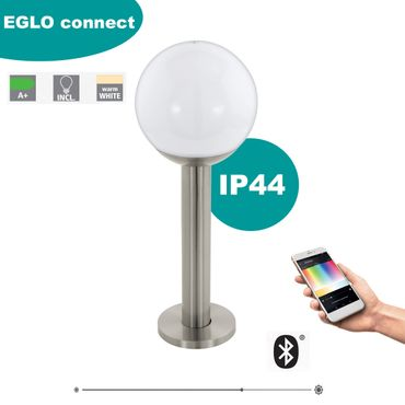 EGLO Connect Outdoor Sockelleuchte NISIA-C edelstahl weiss Ø20cm H:52,5cm IP44