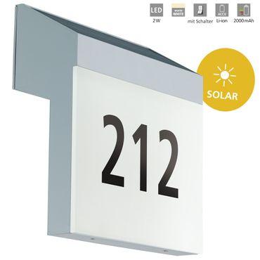 LED Hausnummernleuchte LUNANO silber weiss L:20cm H:21,5cm T:7,5cm IP44