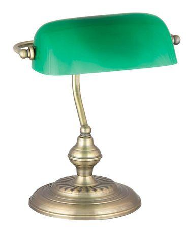 Schreibtischleuchte Bank aus Metall Glas bronzefarben/ grün B:27cm H:33cm mit eingebautem Schalter