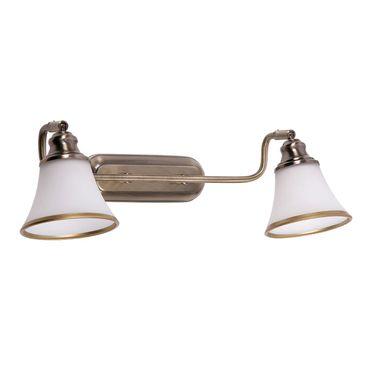Badezimmerleuchte Grando aus Metall Glas bronzefarben/ weiß L:22cm B:31cm H:7cm
