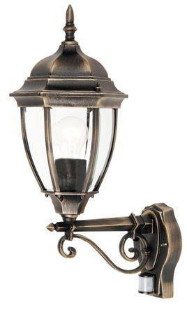 Außenleuchte Wandleuchte Toronto aus Metall Glas antik gold Ø20,5cm L:30cm H:53cm mit Sensor IP44