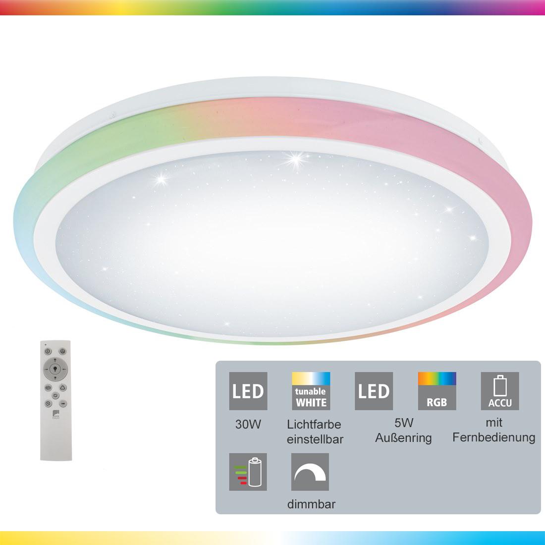 LED Deckenleuchte LIPARI in weiß Ø20cm H20cm Kristalleffekt m.  Fernbedienung   myLeuchte.com