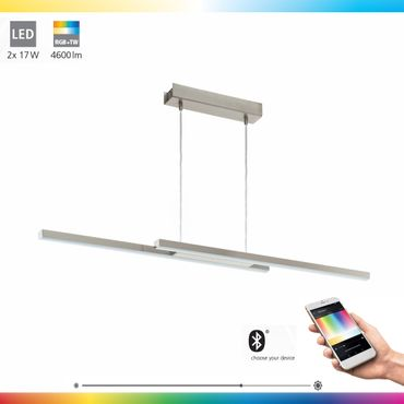 LED Pendelleuchte FRAIOLI-C nickel-matt dimmbar 105,5 x 10 cm Connect Funktion