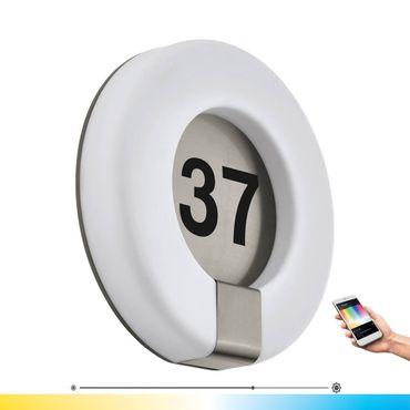 EGLO Connect Hausnummernleuchte MARCHESA-C edelstahl weiss Ø30cm H:7cm IP44