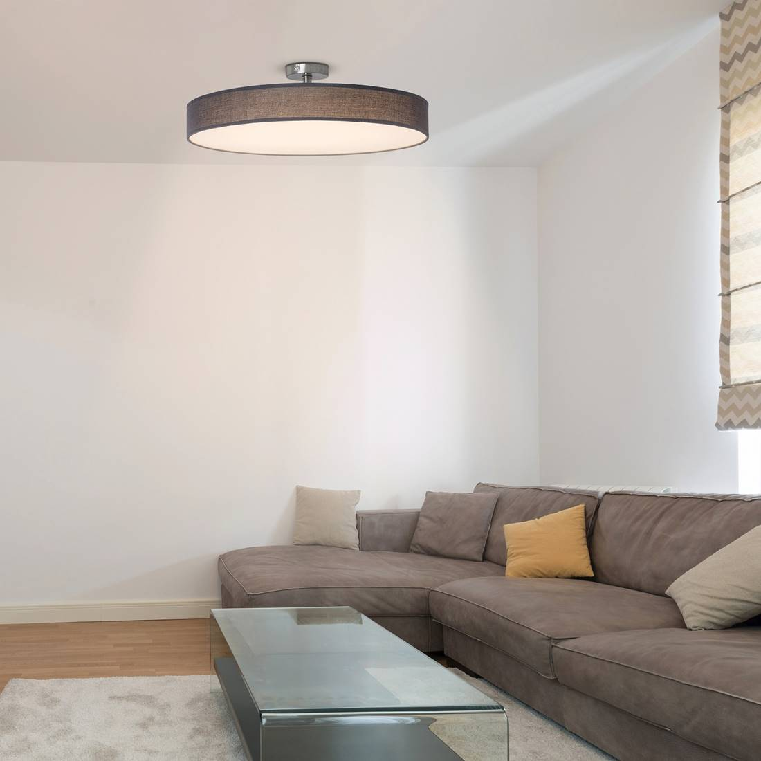 led deckenleuchte helios metall u stoff grau wei satin. Black Bedroom Furniture Sets. Home Design Ideas