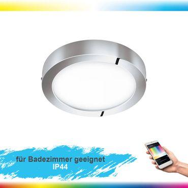 LED Aufbauleuchte FUEVA-C chrom/weiss Ø30cm H:4cm IP44 mit Connect Funktion