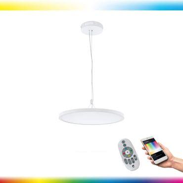 LED Pendelleuchte CERIGNOLA-C weiss Ø60cm H:110cm mit Connect Funktion inkl. Fernbedienung