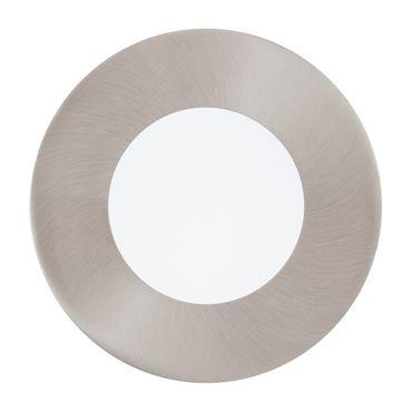 LED Einbauleuchte FUEVA 1 nickel-matt, 2,7W Ø 85 mm rund Lichtfarbe warmweiß