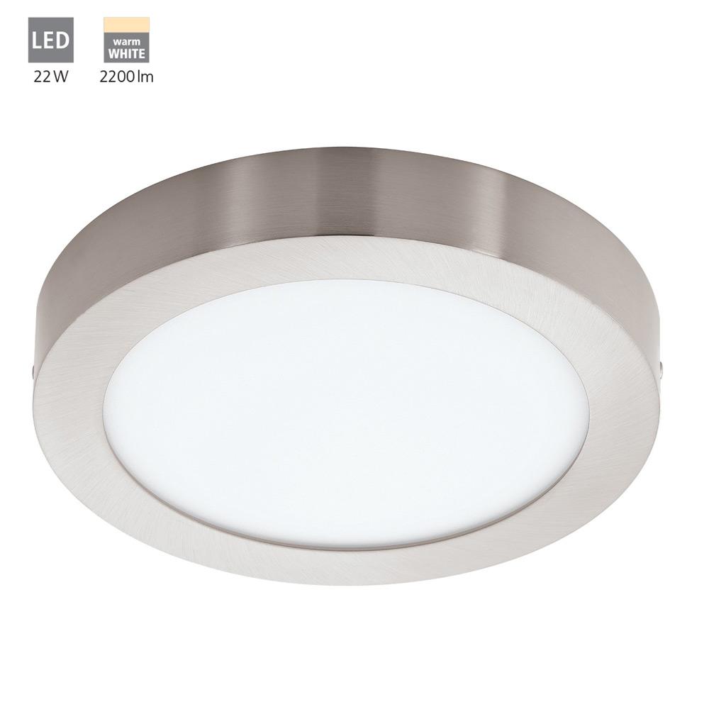 Eglo FUEVA 1 LED Aufbauleuchte Deckenleuchte nickel-matt LED 22W Ø 30cm