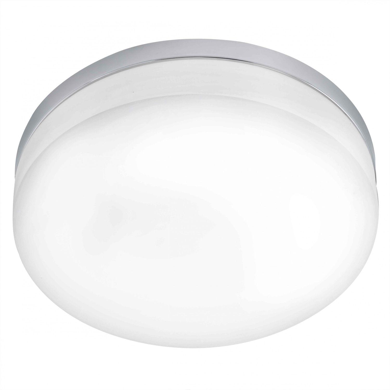 Badezimmer Deckenleuchte LED Lora in chrom Glas opal-matt weiss 24W ...