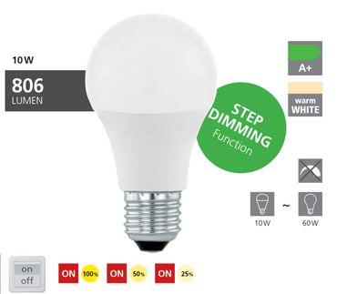 LED Lampe E27 Birne A60 10W/806lm 3000K 1 STK   Stufendimmer 100% 50% 25%