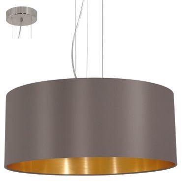 Textilleuchte Pendelleuchte MASERLO E27 in CAPPUCCINO / GOLD Ø 53cm