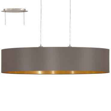 EGLO Hängeleuchte Maserlo 31619 In Textil Cappuccino, Gold 2X60W L:100  H:110cm