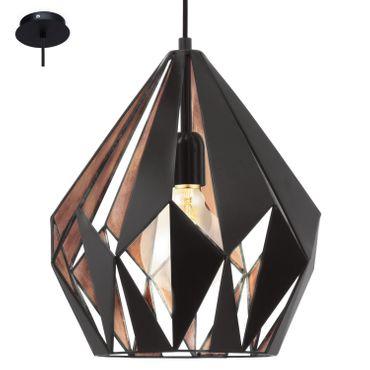 Eglo Hängeleuchte CARLTON 1 schwarz, kupfer, E27 max. 1X60W