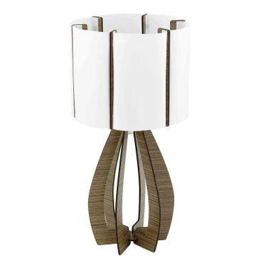 Tischleuchte Cossano mit Schalter in braun und weiss 1X60W H:45 Ø 22,5cm