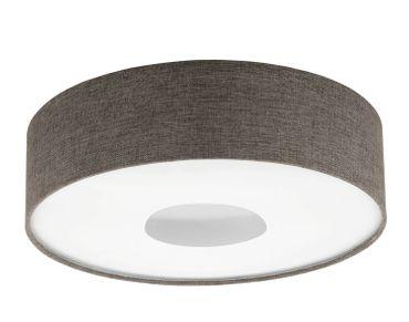 Deckenleuchte Romao 2 in weiss Textil, Leinen braun 24W H:16 Ø 50cm