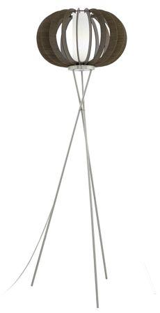 Stehleuchte Stellato 3 mit Schalter Holz, Glas braun, weiss 1X60W H:159 Ø 50cm