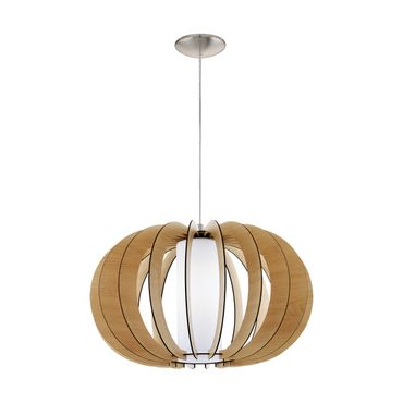 Hängeleuchte Stellato 1 Holz, Glas ahorn, weiss 1X60W H:150 Ø 50cm