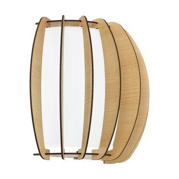 Wandleuchte Stellato 1 in weiss Holz, Glas ahorn, weiss 1X60W L:28,5 H:25cm