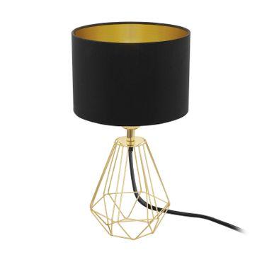 Tischleuchte Carlton 2 mit Schalter in messing Textil schwarz, gold 1X60W H:30,5 Ø 16,5cm