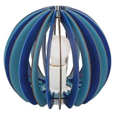 Kinderzimmer Tischleuchte Fabella mit Schalter in blau Holz blau 1X42W H:22,5 Ø 25cm