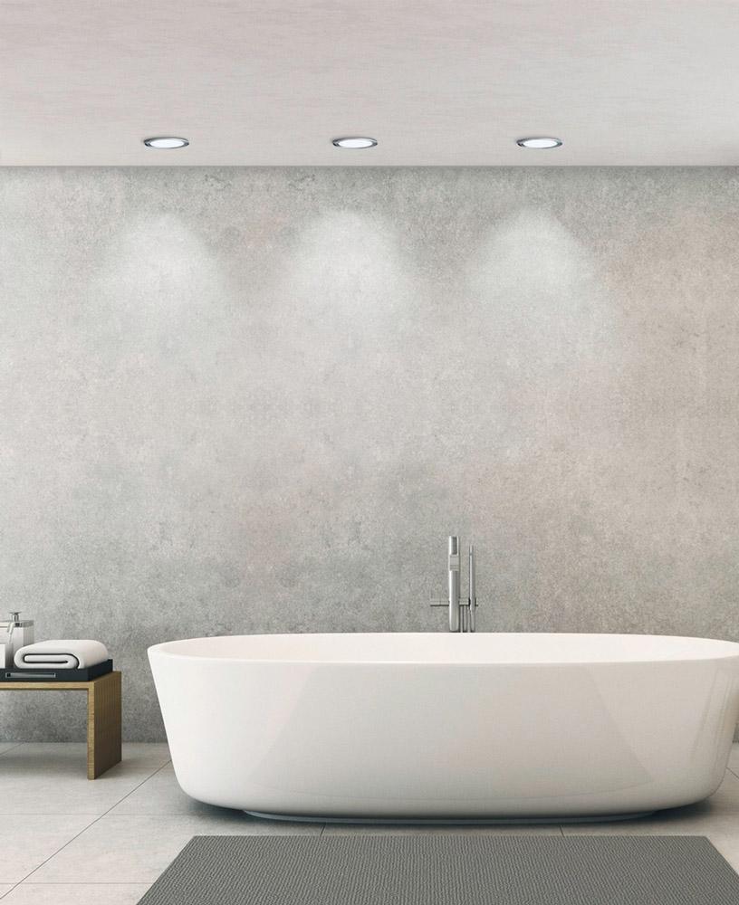 LED Badezimmer Einbauleuchte Fueva 1 in chrom 10,9W Ø 170 mm IP44 warmweiß