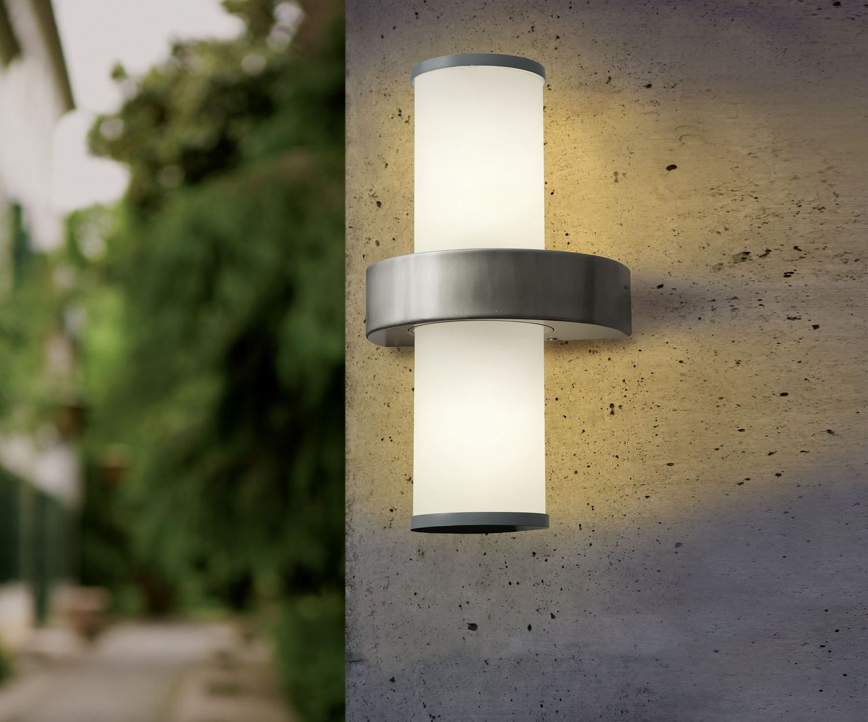 eglo aussenleuchte beverly edelstahl silber e27 max 2x60w aussenleuchten wandleuchten. Black Bedroom Furniture Sets. Home Design Ideas