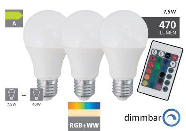 3er-Pack E27 LED Leuchtmittel 7,5W INKL.FERNBEDIENUNG mit Farbwechsler